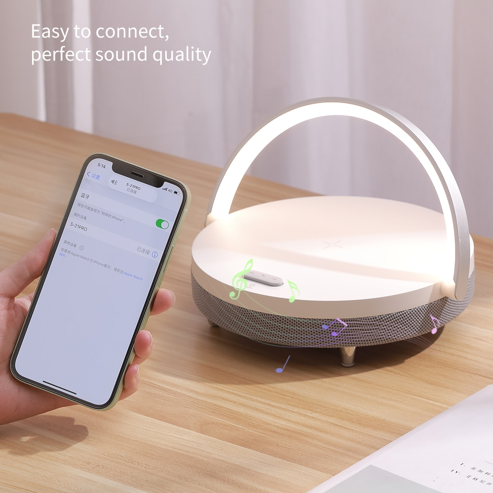 Wireless Charger Bluetooth Speaker Wooden Speaker Table Lamp with Led Light High Power Speakers Wooden Present Fast Charging