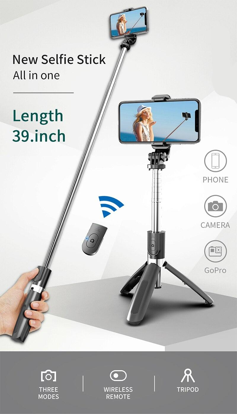 Wireless Bluetooth-compati Selfie Stick Tripod Foldable Tripod Monopods Universal for SmartPhones for Gopro Sports Action Camera