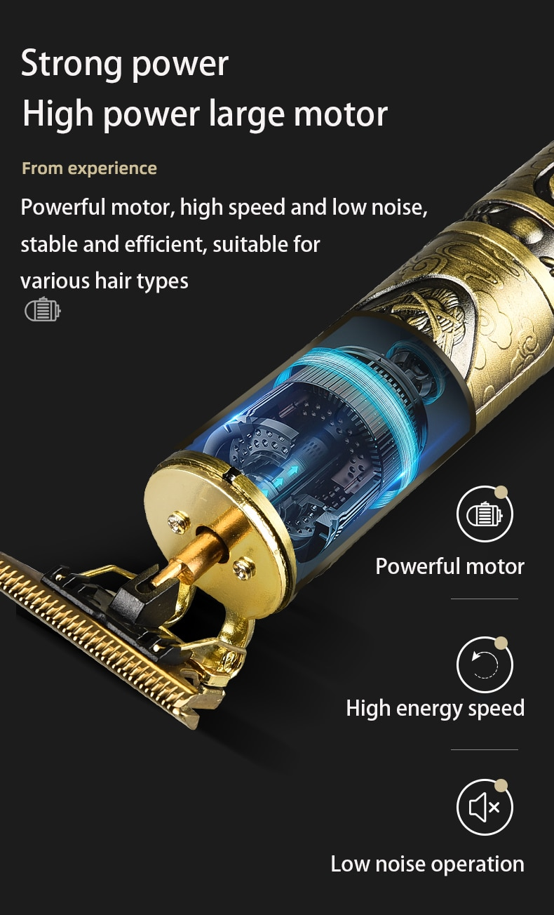 Hair Clipper Electric Clippers New Electric Men's Retro T9 Style Buddha Head Carving Oil Head Scissors